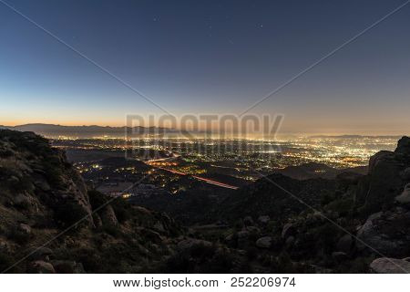 Los Angeles California predawn San Fernando Valley view.  Shot from Rocky Peak Park near Simi Valley.