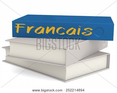 Hard Cover Books With Francais Word, 3d Rendering