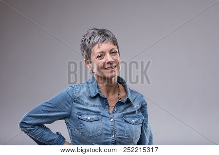 Attractive Older Woman With A Friendly Smile