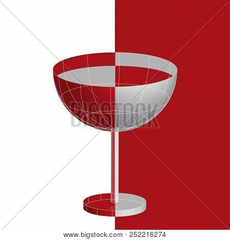 A Glass Of Red Liqueur Tropical Martini Cocktail, 3d Vector In Flat Cubism Style.