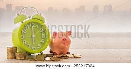 Money, Alarm Clock With City Business Background. Concept Of Retirement Funds,finance, Time Is Money