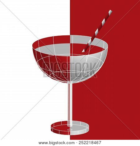 National Drinking Straw Day, January 3. A Glass Of Red Liqueur Tropical Martini Cocktail With Drinki