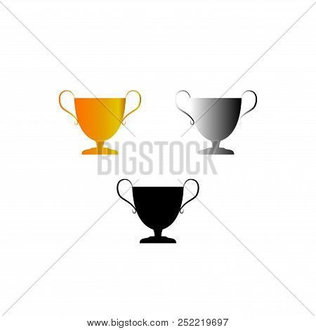 Cup Award Set. Modern Symbol Of Victory, Award Achievement Sport. Insignia Ceremony Awarding Of Winn