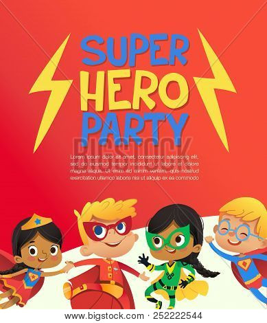Joyous Multiracial Kids In Super Hero Outfit And Balloons Happily Jump. Vector Illustration Of A Sup