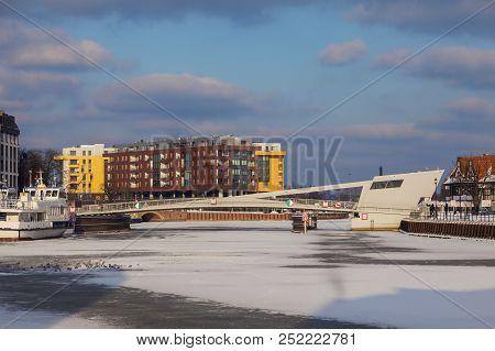 Footbridge On Olowianka In Gdansk. Gdansk, Pomerania, Poland.