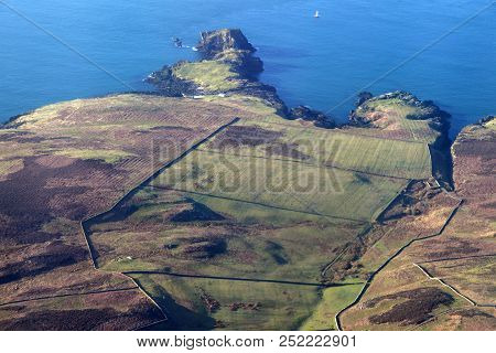 Aerial Panorama Of Isle Of Man. Isle Of Man.