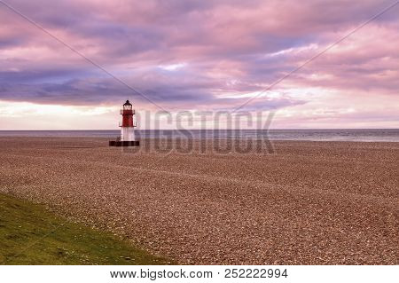 Point Of Ayre Lighthouse On The Isle Of Man. Douglas, Isle Of Man.