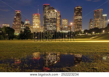 Panorama Of Houston At Night. Houston, Texas, Usa.