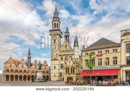 Aalst,belgium - May 21,2018 - City Belfry At The Grote Markt Of Aalst. The 15th-century Belfry Next