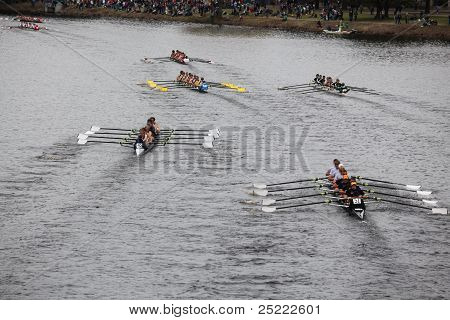 BOSTON - OCTOBER 23: Oakland Strokes youth men's Eights races in the Head of Charles Regatta. Marin