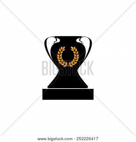 Gold Laurel Wreath On Black Cup Award. Modern Symbol Of Victory And Award Achievement Champion. Leaf