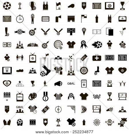 100 Soccer Icons Set In Simple Style Isolated On White Background
