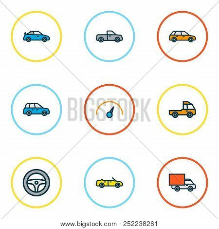 Automobile Icons Colored Line Set With Crossover, Cabriolet, Pickup And Other Machine  Elements. Iso