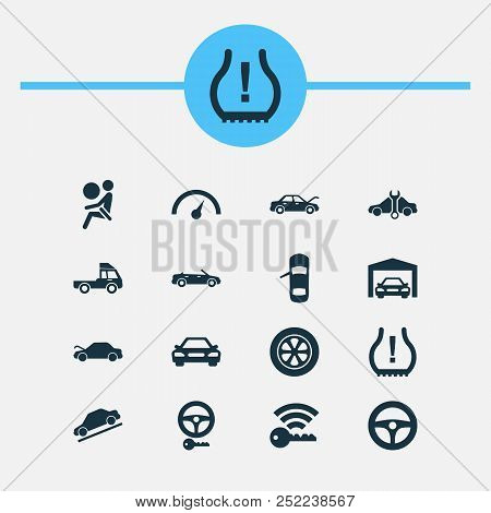 Car Icons Set With Auto Hood, Hill Descent, Airbag And Other Repairing Elements. Isolated Vector Ill