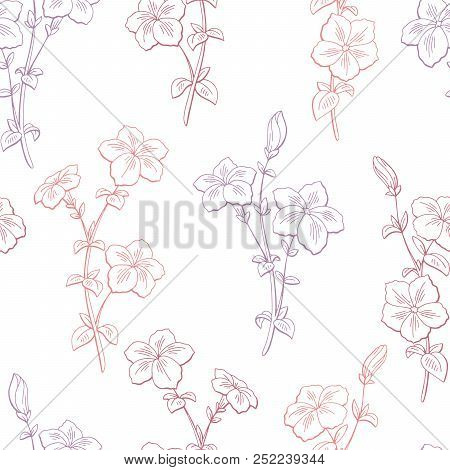 Petunia Flower Graphic Color Sketch Seamless Pattern Background Illustration Vector