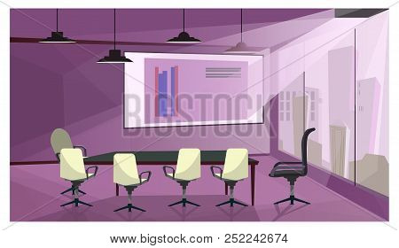 Modern Business Meeting Room Vector Illustration. Projection Screen With Financial Graphs Image, Cha