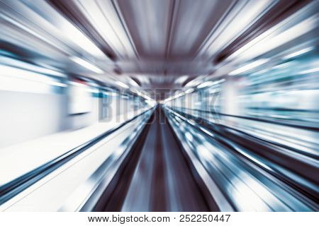 Motion Blur Abstract Background, Fast Moving Walkway Or Travelator In Airport Terminal Transit, Zoom