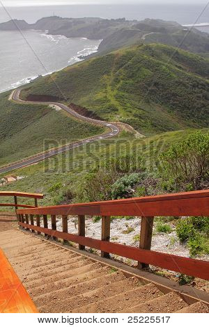 Observation Point And Hills By Ocean