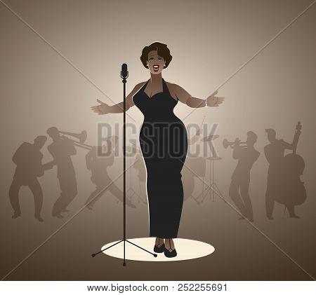 Elegant, curvy and sexy Jazz singer woman singing a melody poster