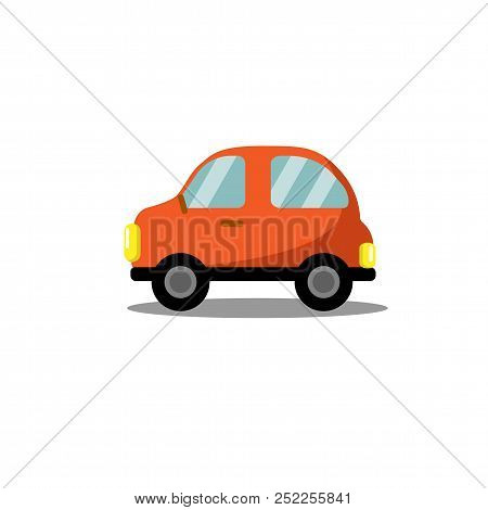 Car Flat Icon, Bright Cartoon Vehicle Concept For Poster, Banner, Logo, Website. Passenger Car Icon.