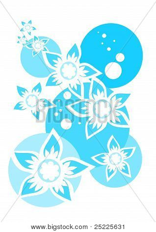 Blue and white flowers composition