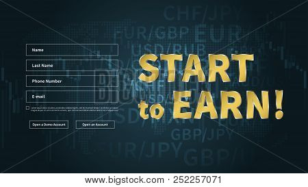 Financial Analytics Chart Vector Banners. Financial Statistic Data For Stock Trade On Desktop Comput