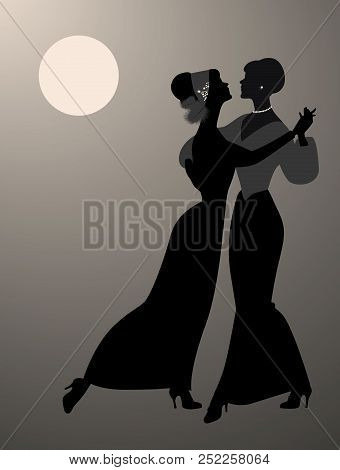 Silhouettes Of Two Women Dancing Together Under The Moon And Wearing 19th Century Clothes. Queer Dan
