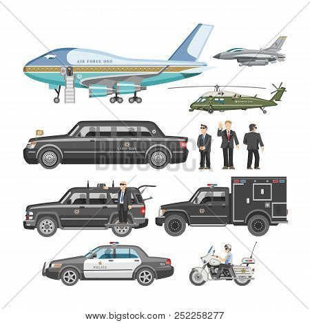 Government Car Vector Presidential Auto And Luxury Business Transportation With Police Car Illustrat