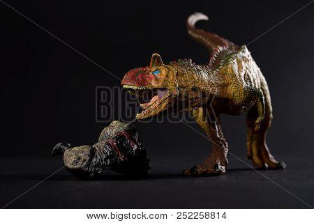 Carnotaurus With A Dinosaur Body Nearby On Dark Background