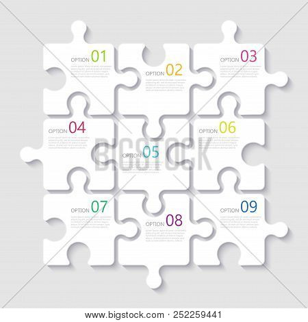 Modern Abstract 3d Puzzle Infographic Template With Nine Steps Options. Business Concept Graph Templ