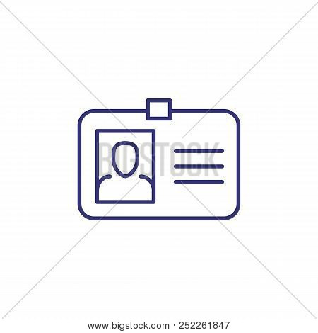Id Card Line Icon. Photo, Clasp, Badge. Identity Concept. Can Be Used For Topics Like Business Id, V