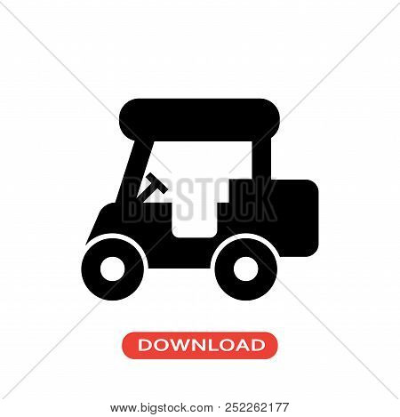 Golf Cart Vector Icon Flat Style Illustration For Web, Mobile, Logo, Application And Graphic Design.