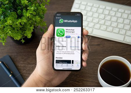 Alushta, Russia - July 30, 2018: Man Holding Iphone X With Social Networking Service Whatsapp On The