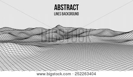 Wireframe Landscape Wire. Wireframe Terrain Polygon Landscape Design. 3D Landscape