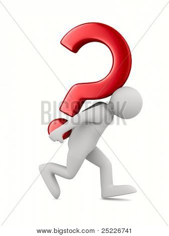 man with question on white. Isolated 3D image