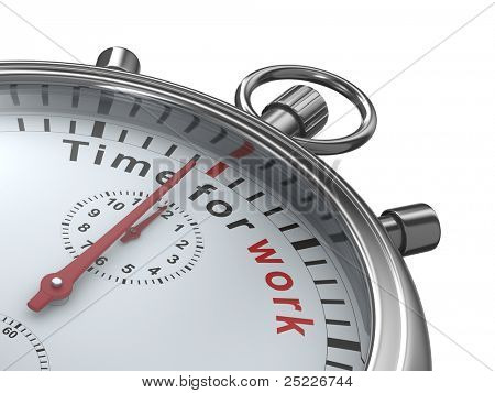 Time for work. Stopwatch on white background. Isolated 3D image