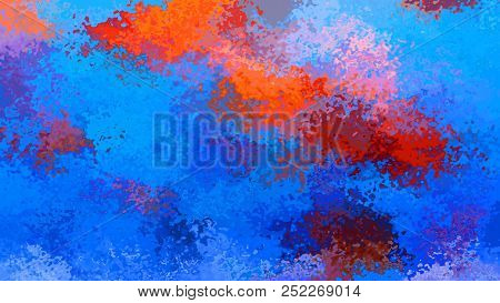 Abstract Stained Pattern Texture Rectangle Background Medium Royal Blue Ena Hot Red Orange Color - M