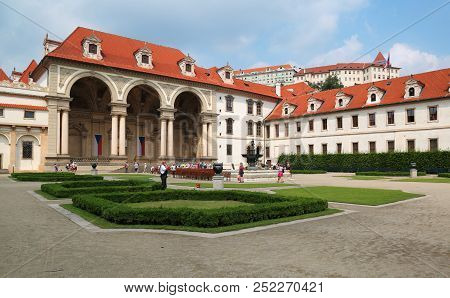 Prague, Jun 11, 2018 - Wallenstein Palace In Mala Strana, Prague Which Now Houses The Senate Of The