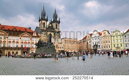 Prague, Czech Republic - Jun 11, 2018. View Of Old Town Square With Tourists In Prague, Czech Republ