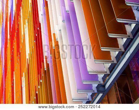 Acrylic Plastic Sheet Interior Slope Bottom 60 Degree And Orange Purple Brown
