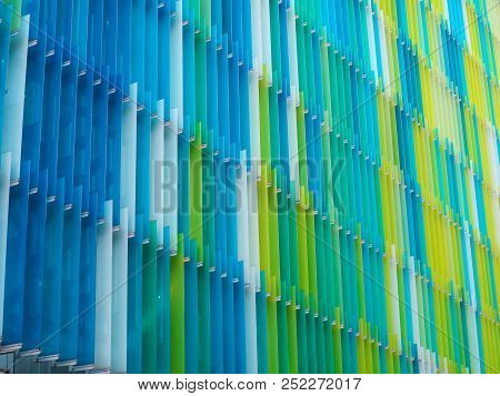 Acrylic Plastic Sheet Interior Seven Level Line And Color Yellow Blue Aqua