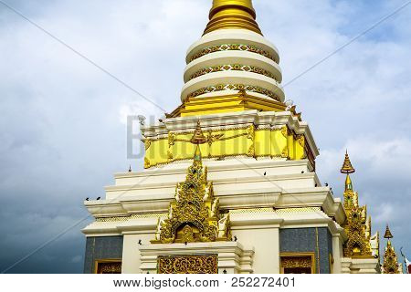 Gold Pagoda In Day Blue Sky White Cloud