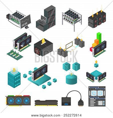 Mining Farm Process Vector Set. Symbols And Icons Of Mining Farm Equipment. Blockchain Technologies