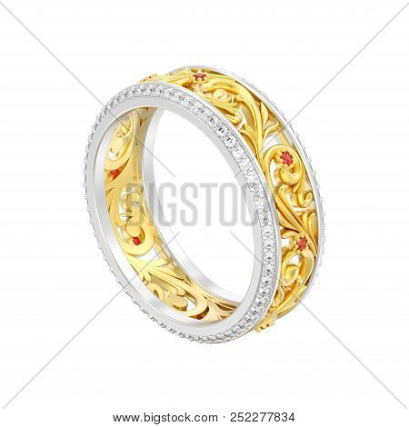 3d Illustration Isolated Jewelry Yellow With White Gold Or Silver Engagement Wedding Band Ring With