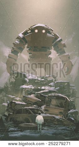 Giant Robot Behind Pile Of Wreck Cars Looking At The Boy Below, Digital Art Style, Illustration Pain