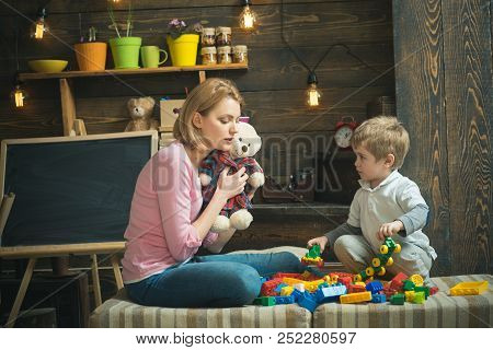 Early Education Concept. Mother Play With Child, Early Education. Early Childhood Education. Early E