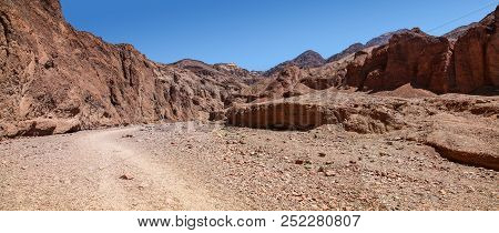 Panoramic View Of Natural Bridge Canyon Hiking Trailhead In Death Valley National Park