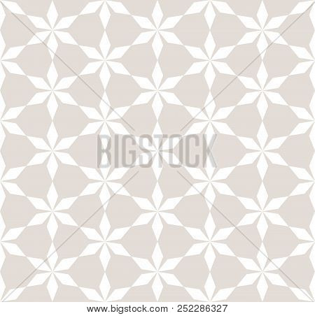 Vector Abstract Geometric Seamless Pattern. Floral Grid Background. Subtle White And Beige Ornament