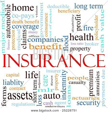 An illustration around the word insurance with lots of different terms such as home auto health life assets property copays benefits and a lot more. poster