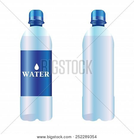 Vector Bottle Of Pure Water. Set Of Two Bottles.